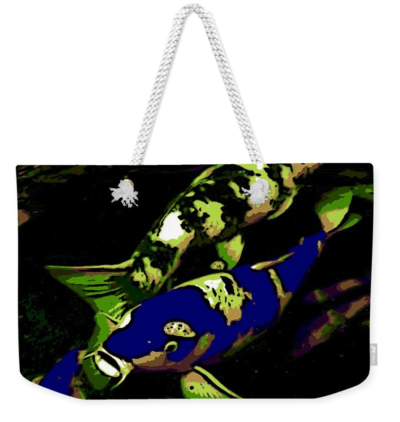Japanese Goldfish Weekender Tote Bag featuring the photograph Electric Blue by George Pedro