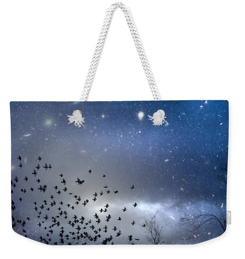 Stars Weekender Tote Bag featuring the digital art The Night Was Electrically Charged by Gothicrow Images