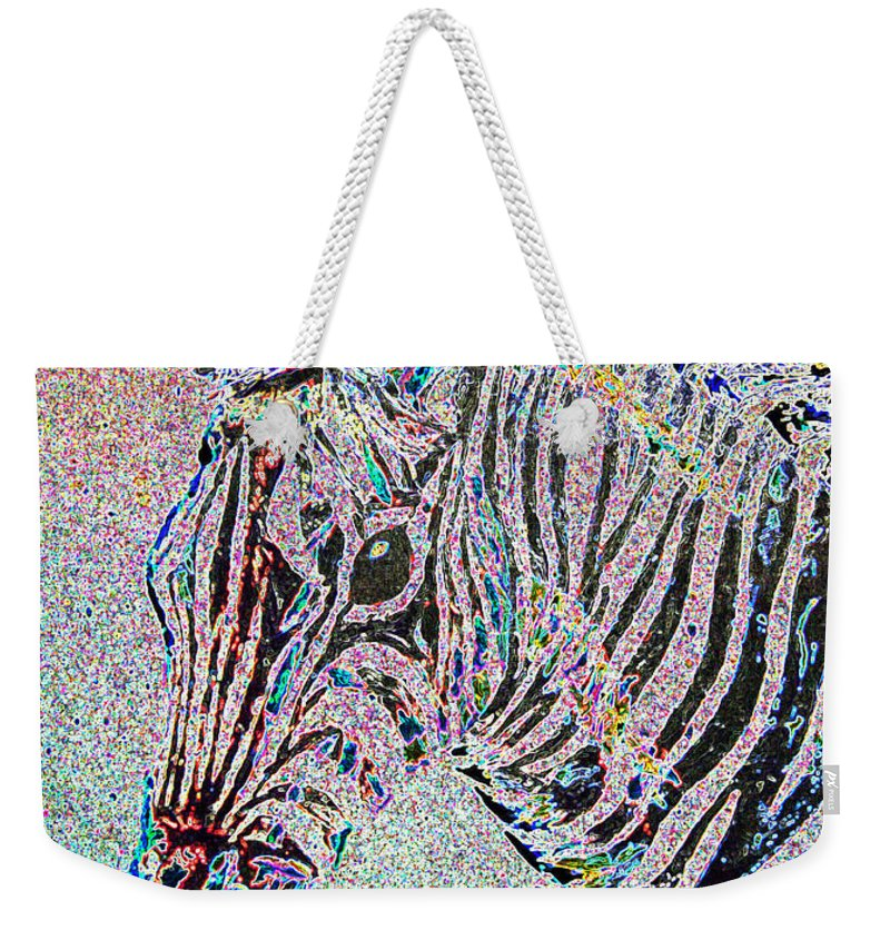 Surreal Paintings Weekender Tote Bag featuring the digital art Electric Zebra by Mayhem Mediums