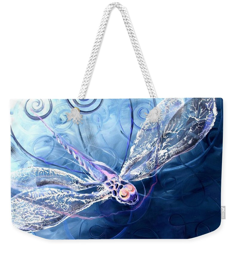 Dragonfly Weekender Tote Bag featuring the painting Electrified Dragonfly by J Vincent Scarpace