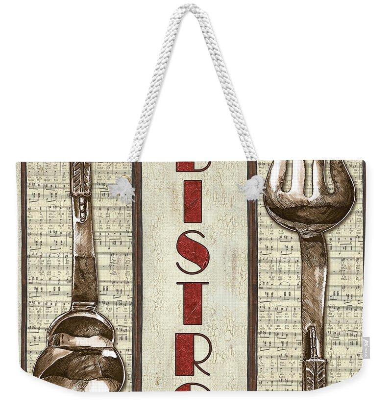 Bistro Weekender Tote Bag featuring the painting Elegant Bistro 1 by Debbie DeWitt
