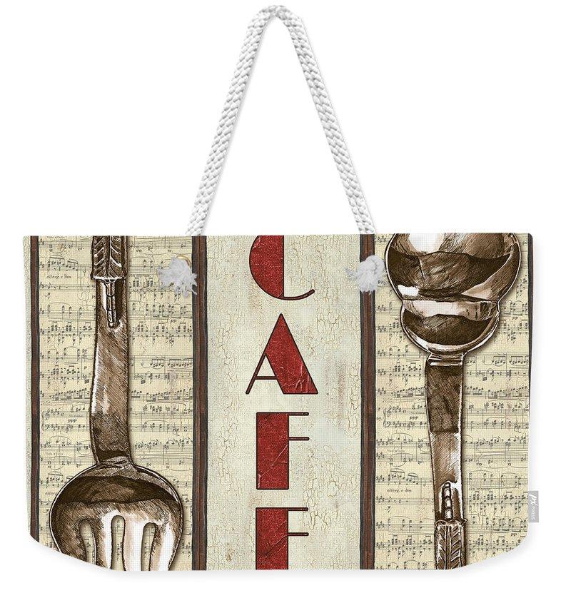 Cafe Weekender Tote Bag featuring the painting Elegant Bistro 2 by Debbie DeWitt