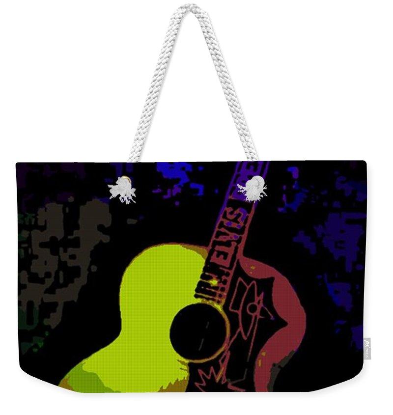Elvis Weekender Tote Bag featuring the photograph Elvis Gibson J200 Guitar by George Pedro
