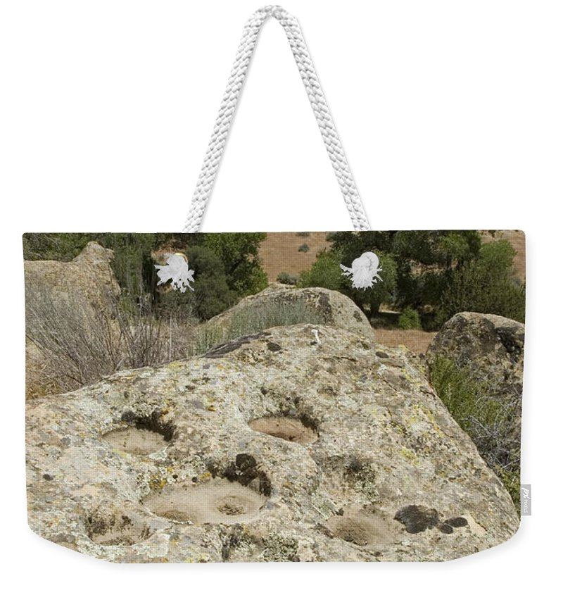 Nobody Weekender Tote Bag featuring the photograph Emigdiano Chumash Bedrock Mortars by Rich Reid