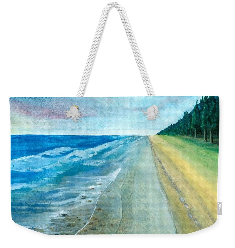 Beach Scene Weekender Tote Bag featuring the painting Endless Beach by Dennis Fisk