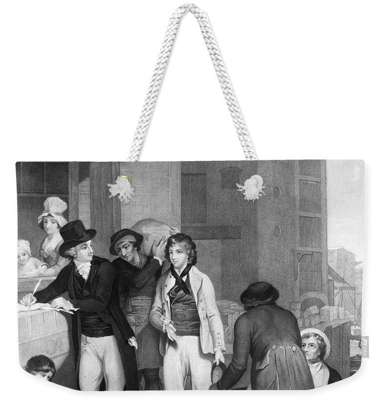 1800 Weekender Tote Bag featuring the photograph England: Merchant, 1800 by Granger