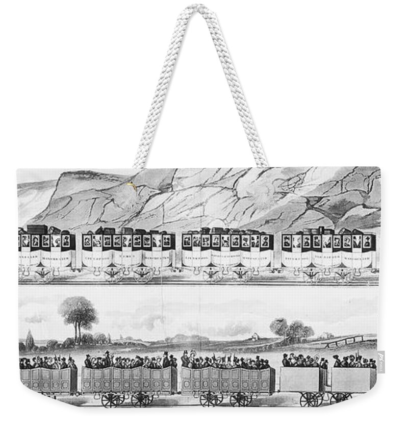 1833 Weekender Tote Bag featuring the photograph England: Railroad Travel by Granger
