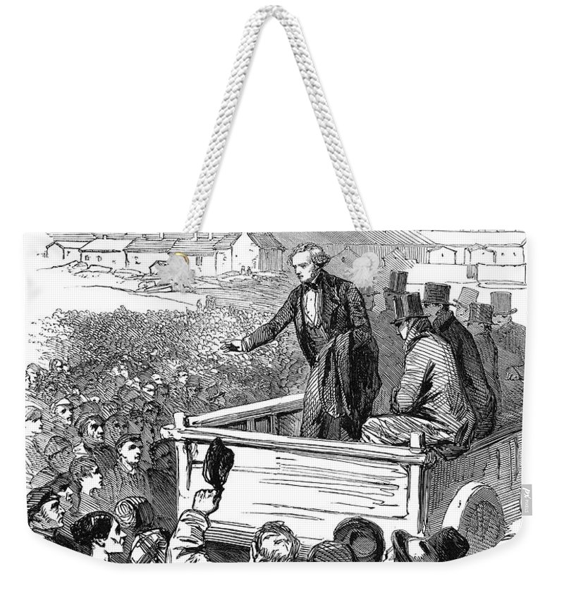 1853 Weekender Tote Bag featuring the photograph England: Textile Strike by Granger