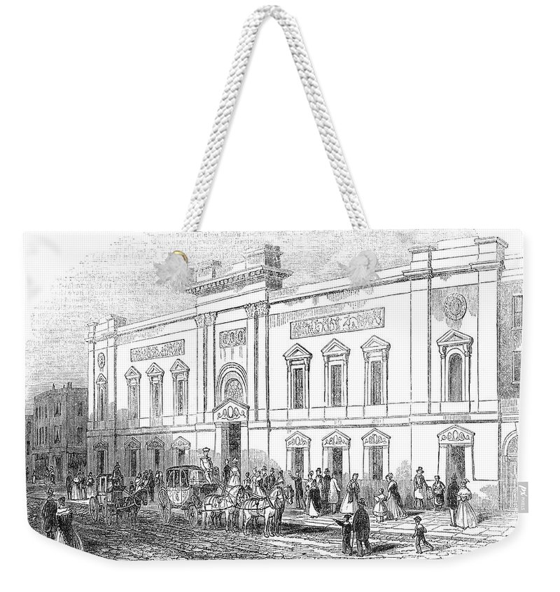 1843 Weekender Tote Bag featuring the photograph England: Theatre, 1843 by Granger