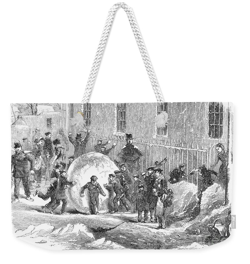 1855 Weekender Tote Bag featuring the photograph England: Winter, 1855 by Granger