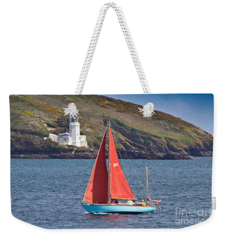 Sailing Boat Weekender Tote Bag featuring the photograph Entering Harbour by Brian Roscorla