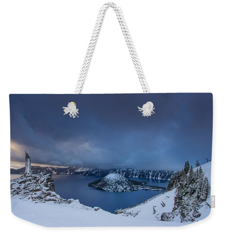 Cascades Weekender Tote Bag featuring the photograph Enveloping Storm At Crater Lake by Greg Nyquist