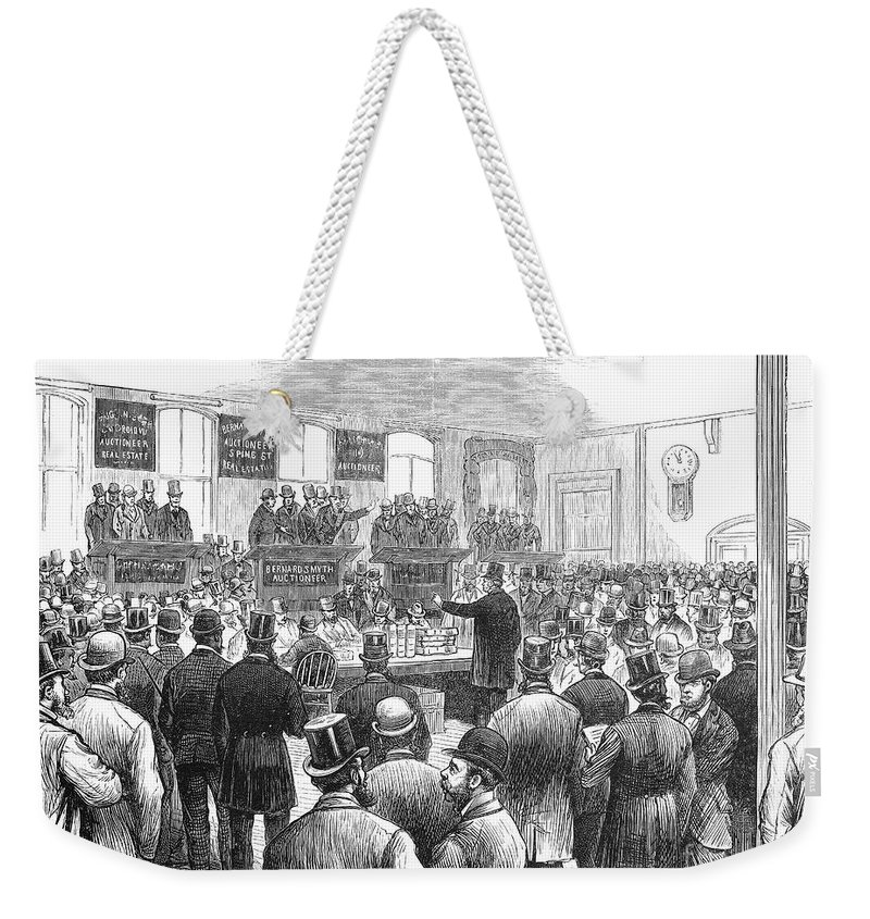 1878 Weekender Tote Bag featuring the photograph Erie Railway Auction, 1878 by Granger