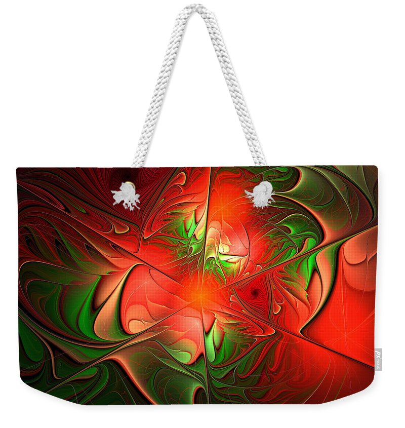Eruption Weekender Tote Bag featuring the digital art Eruption - Abstract Art by Georgiana Romanovna