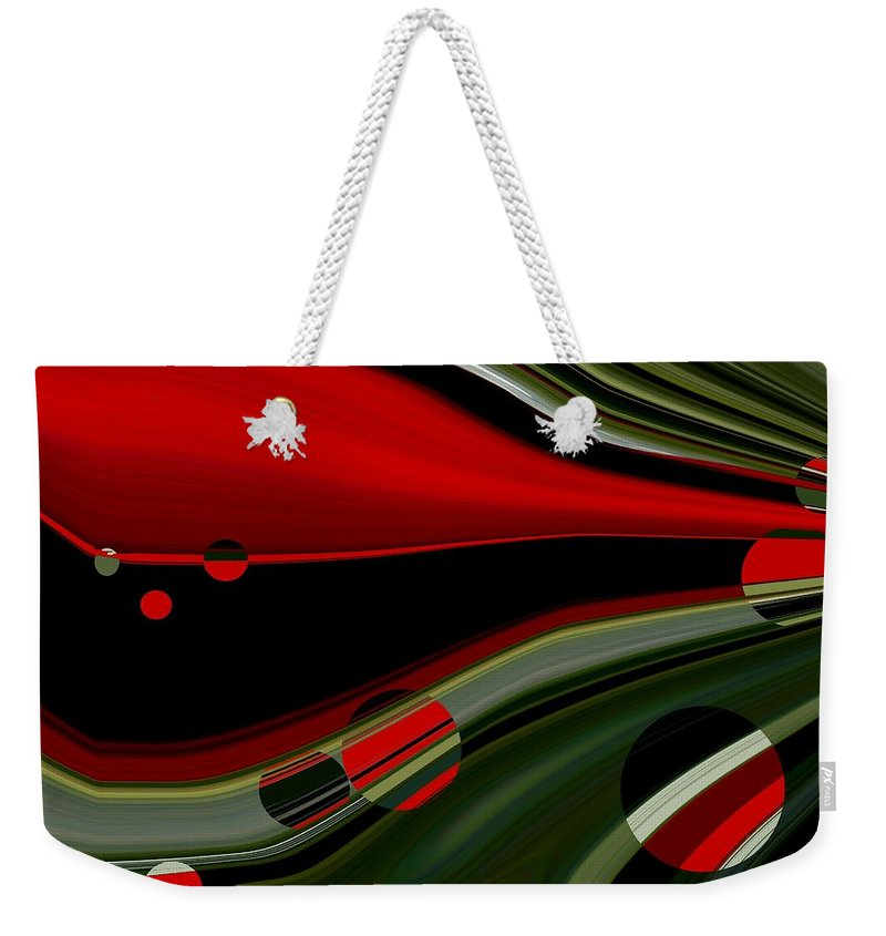 Red Weekender Tote Bag featuring the painting Escaping by Renate Nadi Wesley