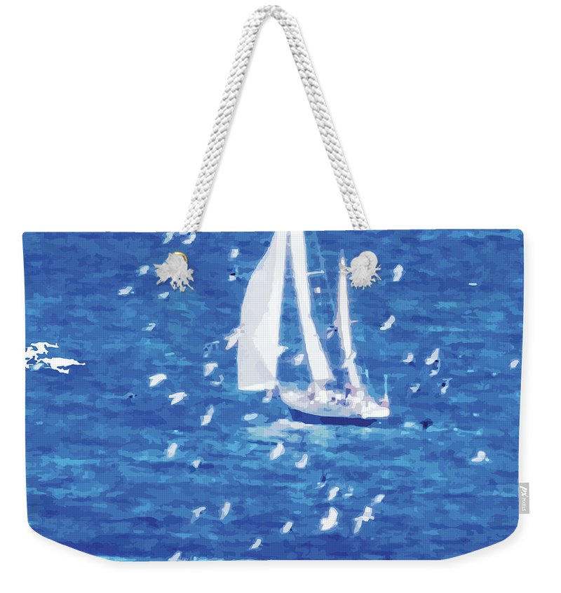 Sailing Weekender Tote Bag featuring the digital art Escorted By Seagulls by Alfie Borg