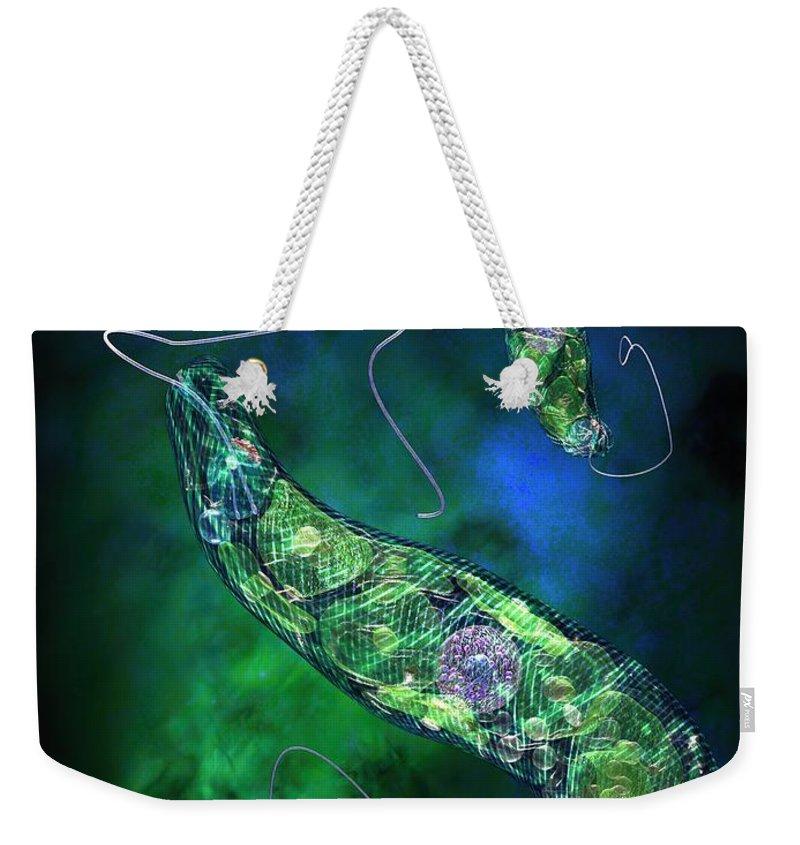 Biological Weekender Tote Bag featuring the digital art Euglena Blue by Russell Kightley