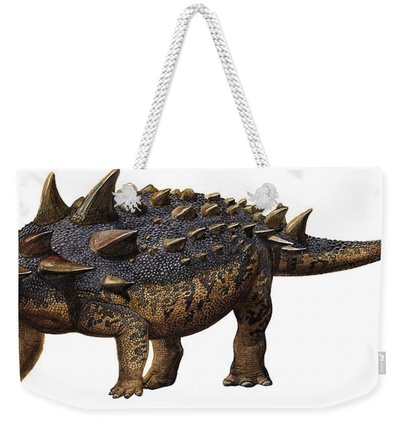 Horizontal Weekender Tote Bag featuring the digital art Euoplocephalus Tutus, A Prehistoric Era by Sergey Krasovskiy