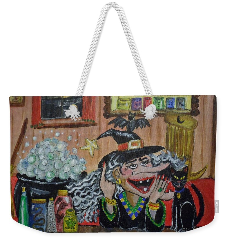 Halloween Weekender Tote Bag featuring the painting Eureka  I've Got It by Julie Brugh Riffey