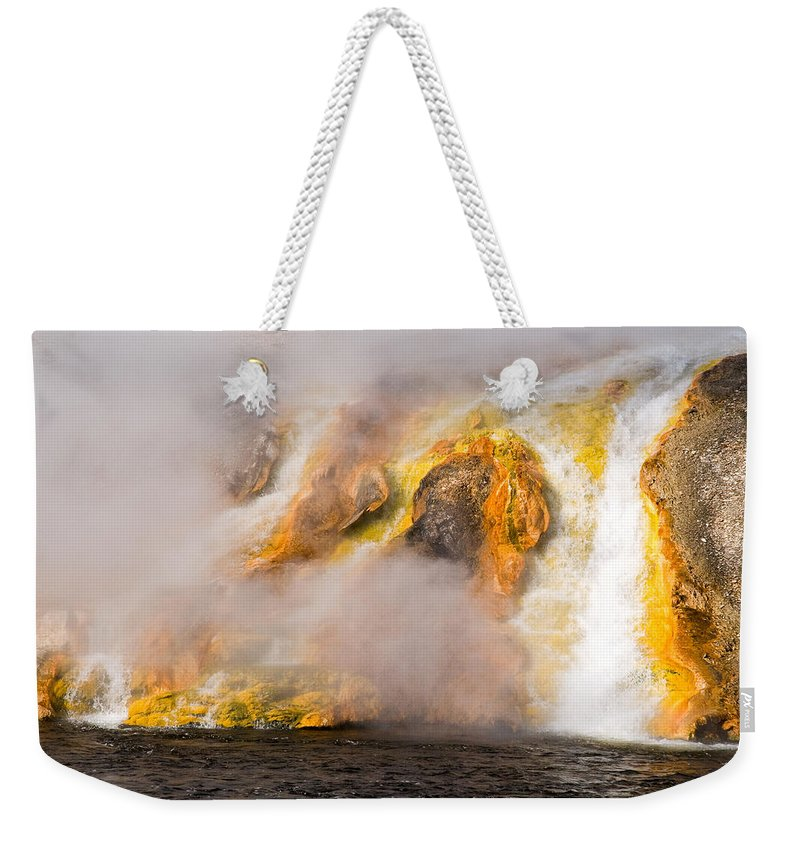 Yellowstone Weekender Tote Bag featuring the photograph Excelsior Geyser by Steve Stuller