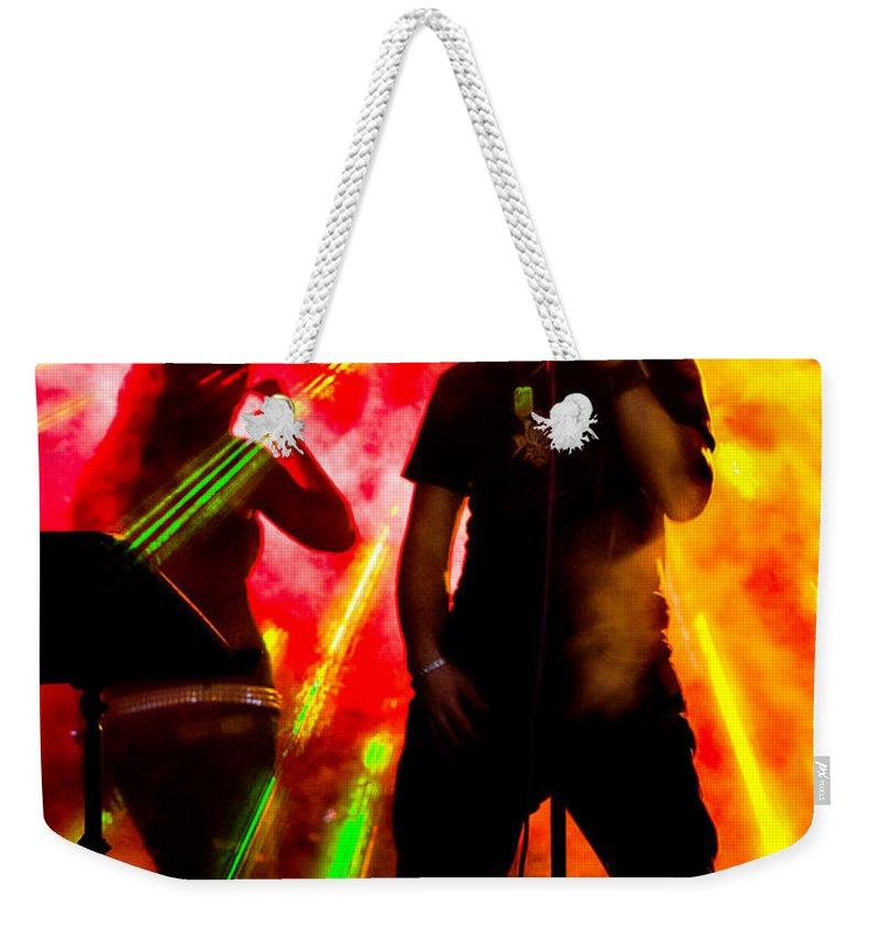 Band Weekender Tote Bag featuring the photograph Explosion by Christopher Holmes