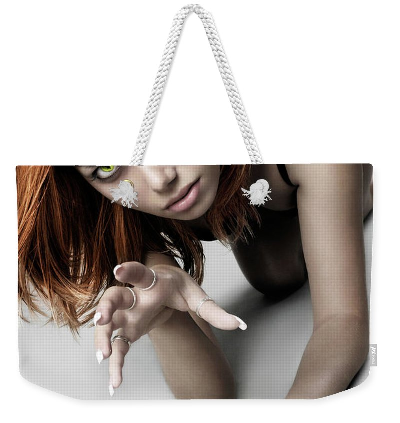 Woman Weekender Tote Bag featuring the photograph Expressive Sexy Cat Woman by Oleksiy Maksymenko