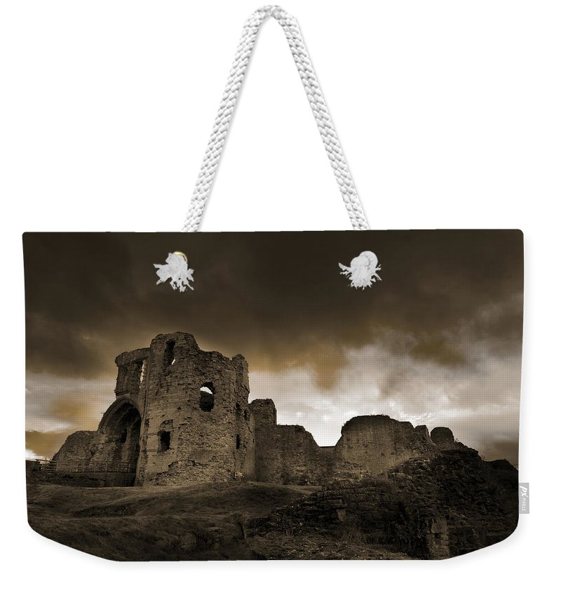 Black And White Weekender Tote Bag featuring the photograph Exterior Of The Ruins Of Denhigh Castle by Jim Richardson