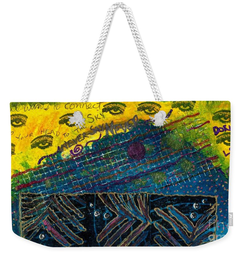 Women Weekender Tote Bag featuring the mixed media Eyes In The Sky by Angela L Walker