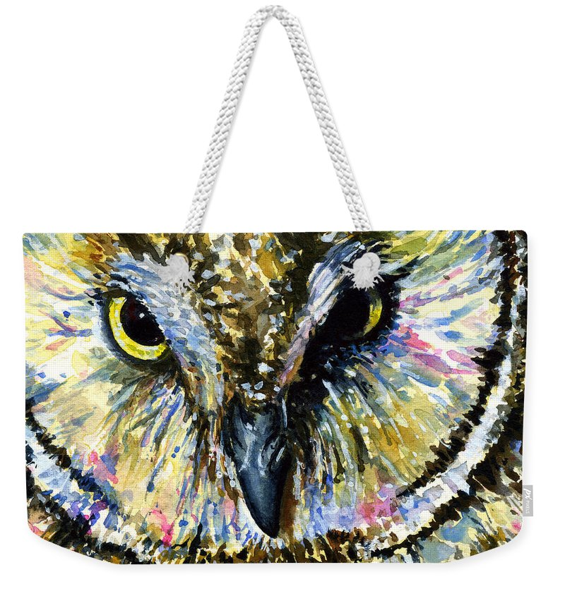 Owls Weekender Tote Bag featuring the painting Eyes Of Owl's 13 by John D Benson