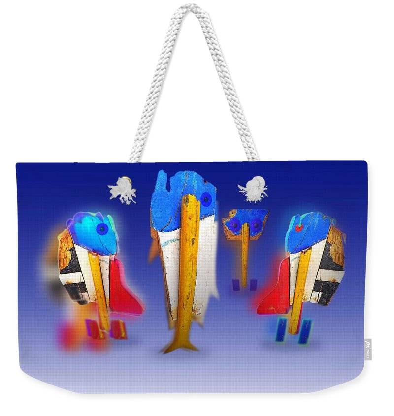 Fab Weekender Tote Bag featuring the painting Fab Four by Charles Stuart