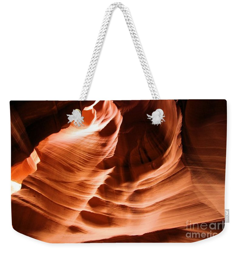 Antelope Canyon Weekender Tote Bag featuring the photograph Face In The Canyon by Adam Jewell