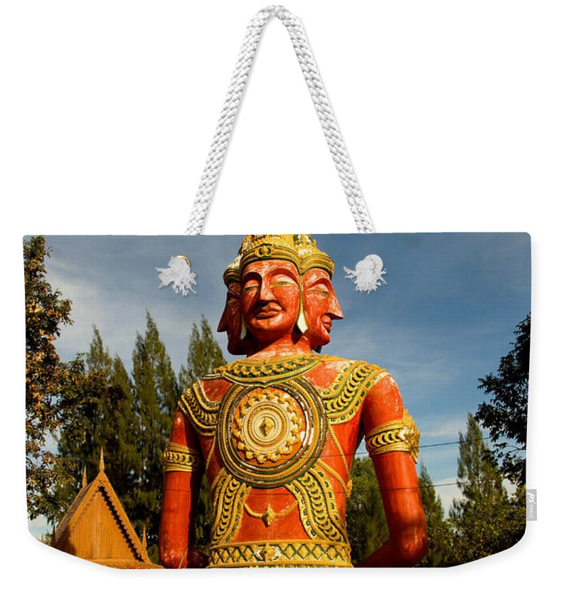 Temple Weekender Tote Bag featuring the photograph Faces Of Buddha by Adrian Evans
