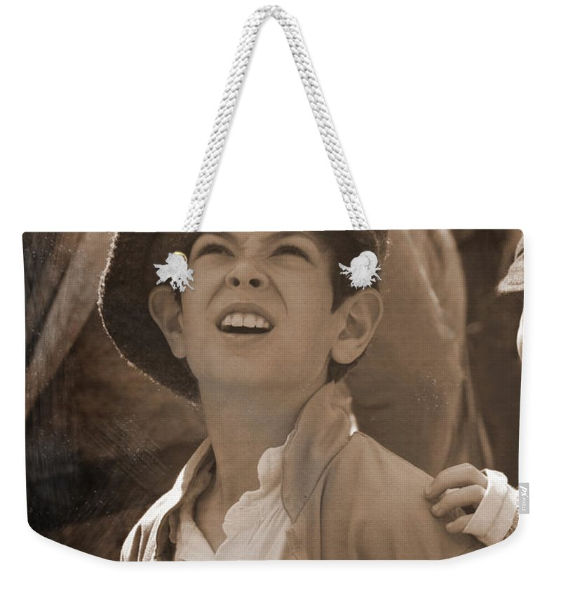 Civil War Weekender Tote Bag featuring the mixed media Faces Of War by Kim Henderson