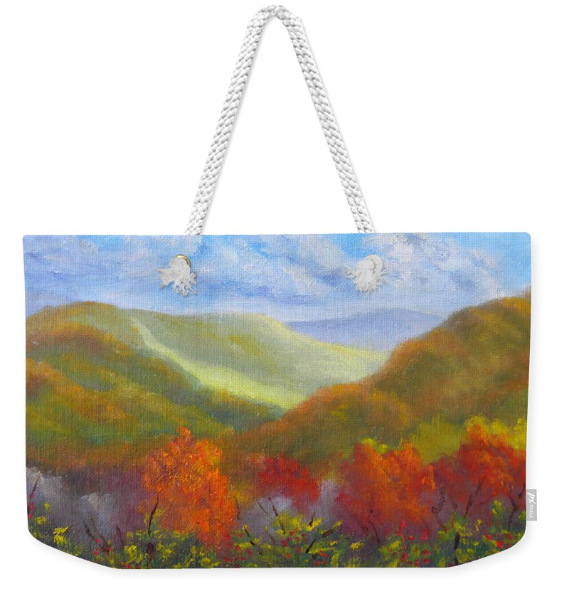 Mountains Weekender Tote Bag featuring the painting Fall Glow from Bear Notch Road by Sharon E Allen