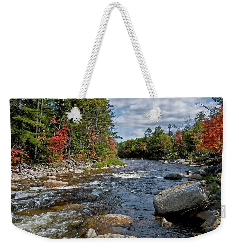 white Mountains Weekender Tote Bag featuring the photograph Fall On Swift River by Paul Mangold
