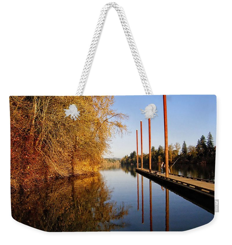 Pier Weekender Tote Bag featuring the photograph Fall Pier by Wendy McKennon