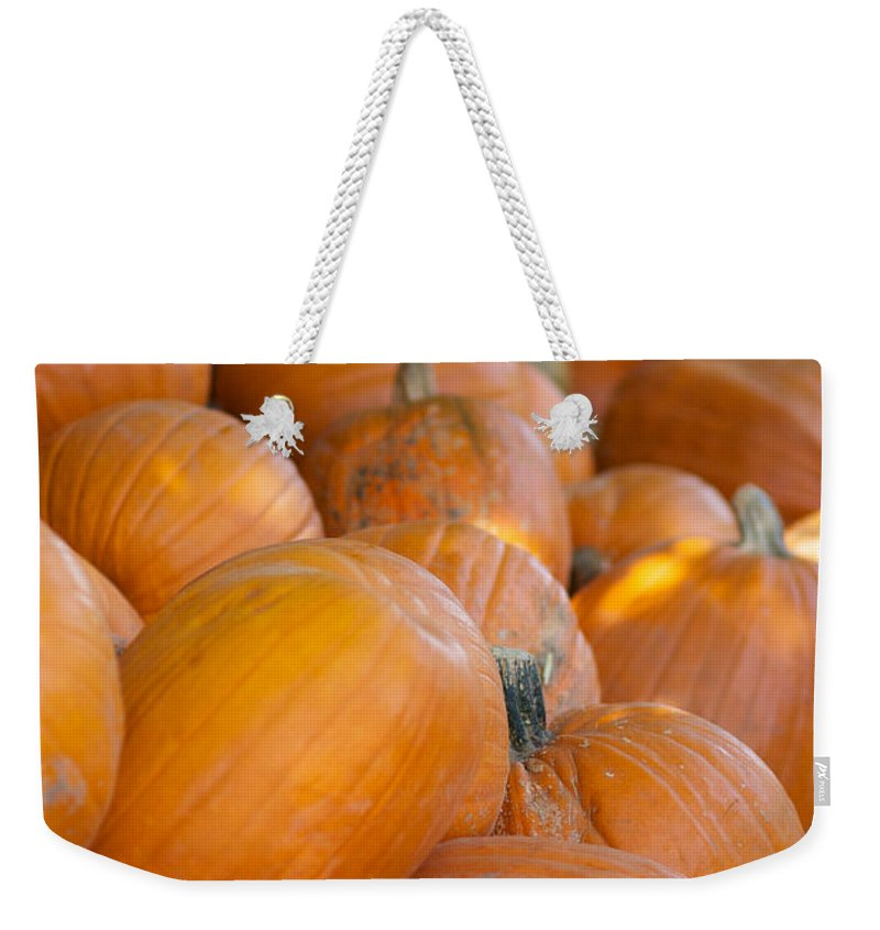 Pumpkin Weekender Tote Bag featuring the photograph Fall Pumpkins by Brooke Roby