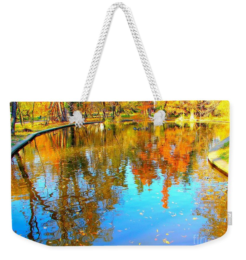 Fall Weekender Tote Bag featuring the photograph Fall Reflections by Ana Maria Edulescu