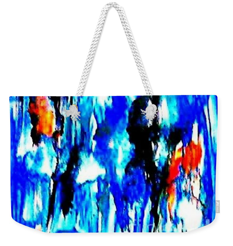 Weekender Tote Bag featuring the painting Fallic Breeze by Milisa Miner