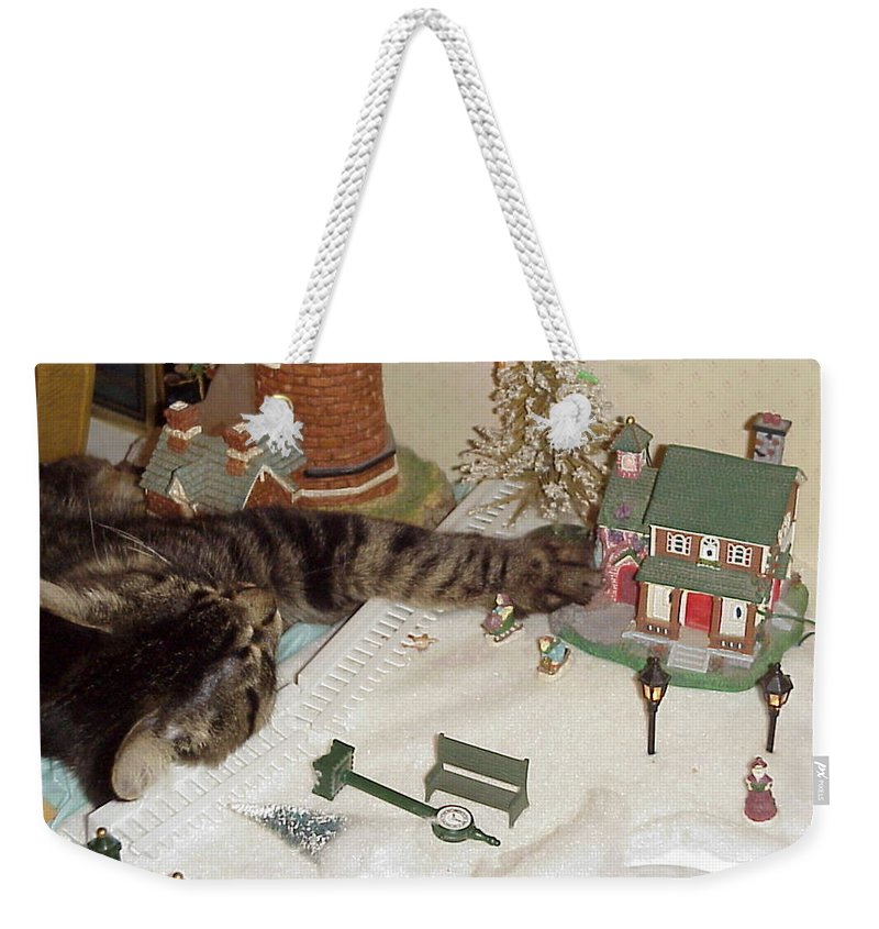 nose To The Grindstone Weekender Tote Bag featuring the photograph Falls Asleep While Destroying Tiny Town by John Bowers