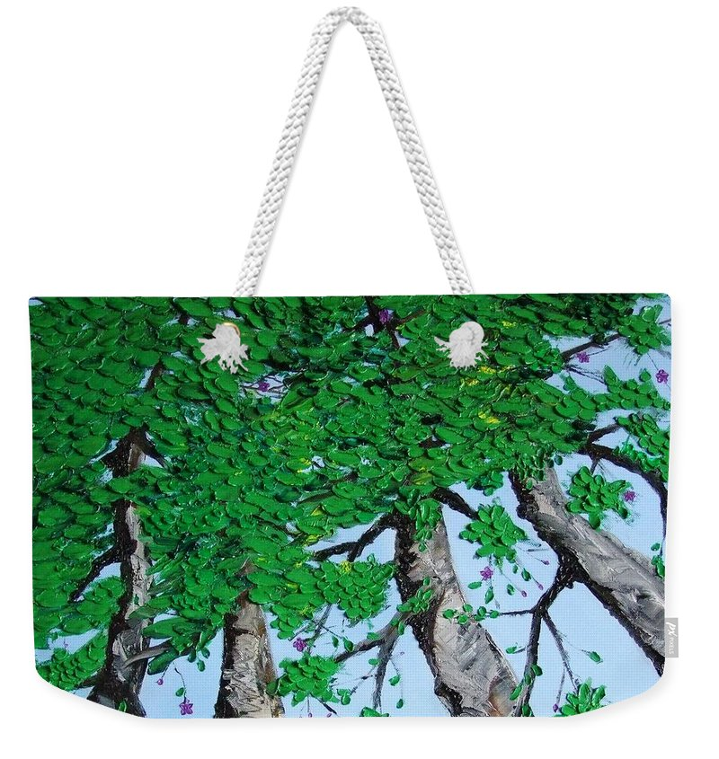 Landscape Weekender Tote Bag featuring the painting Family Trees by Alfie Borg