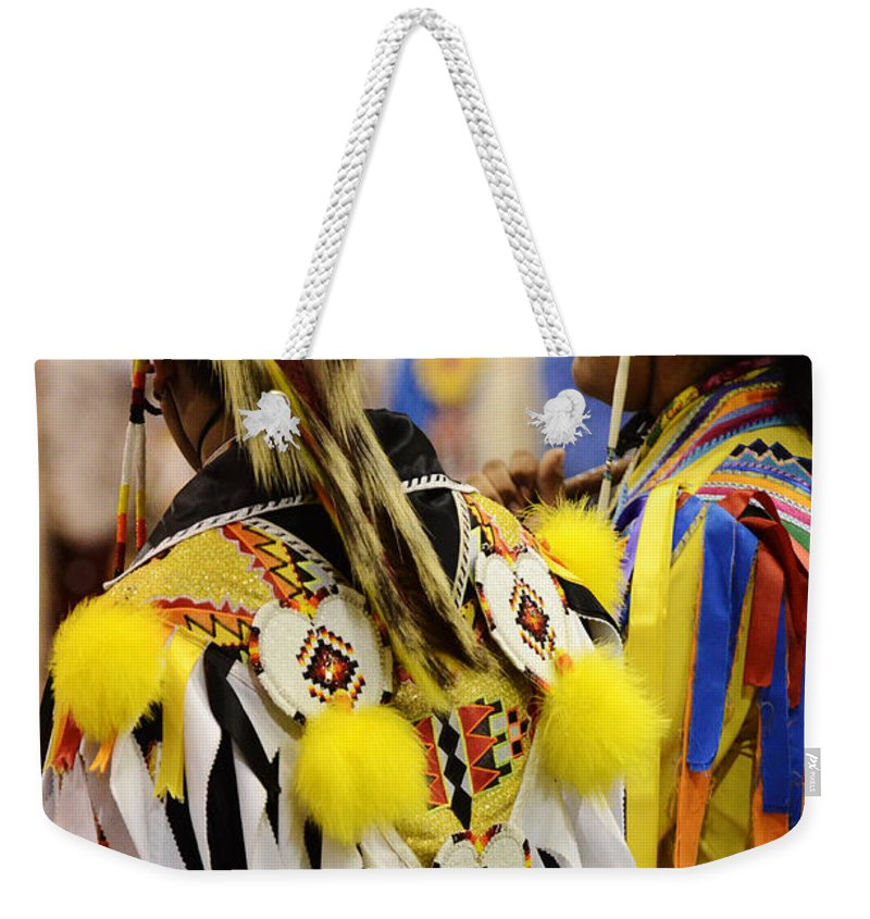 Pow Wow Weekender Tote Bag featuring the photograph Pow Wow Fancy Dancer Duo by Bob Christopher