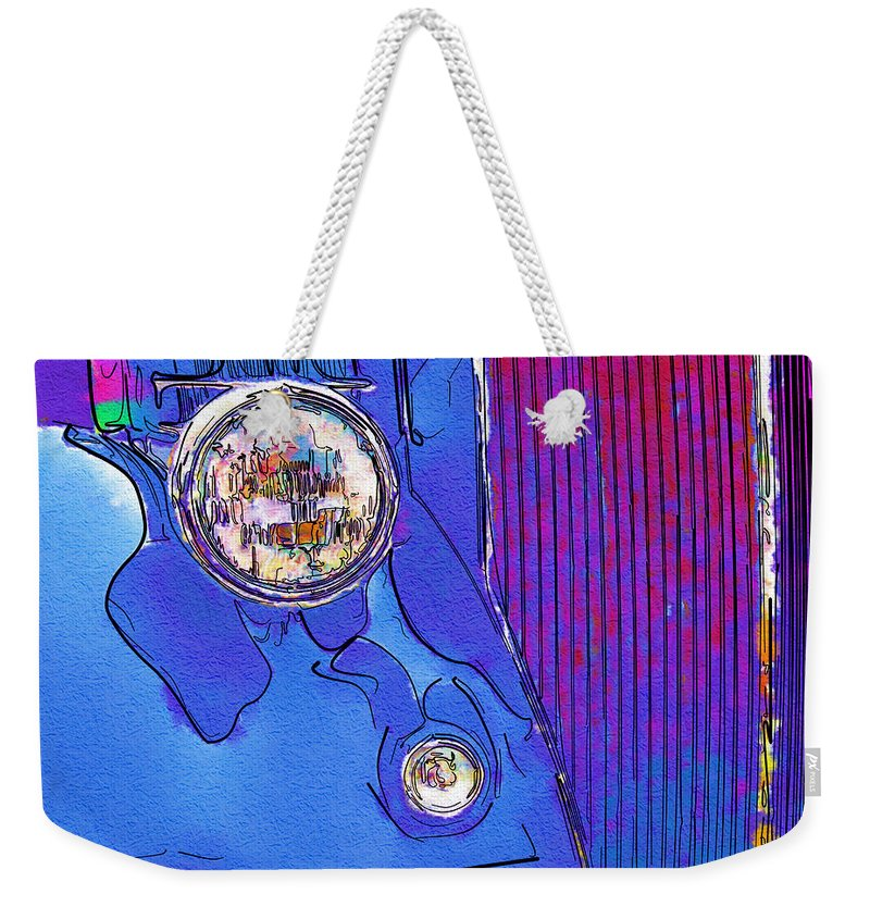 Ford Weekender Tote Bag featuring the photograph Fancy Dancy Vintage Ford Cabriolet by Kathy Clark