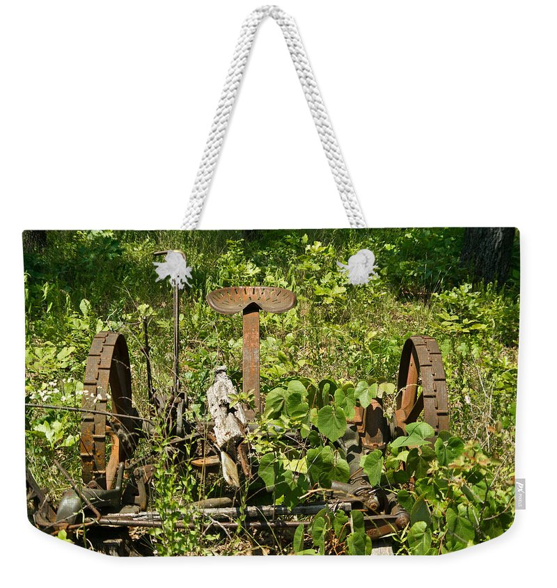 Farm Weekender Tote Bag featuring the photograph Farm Mower 1 by Douglas Barnett