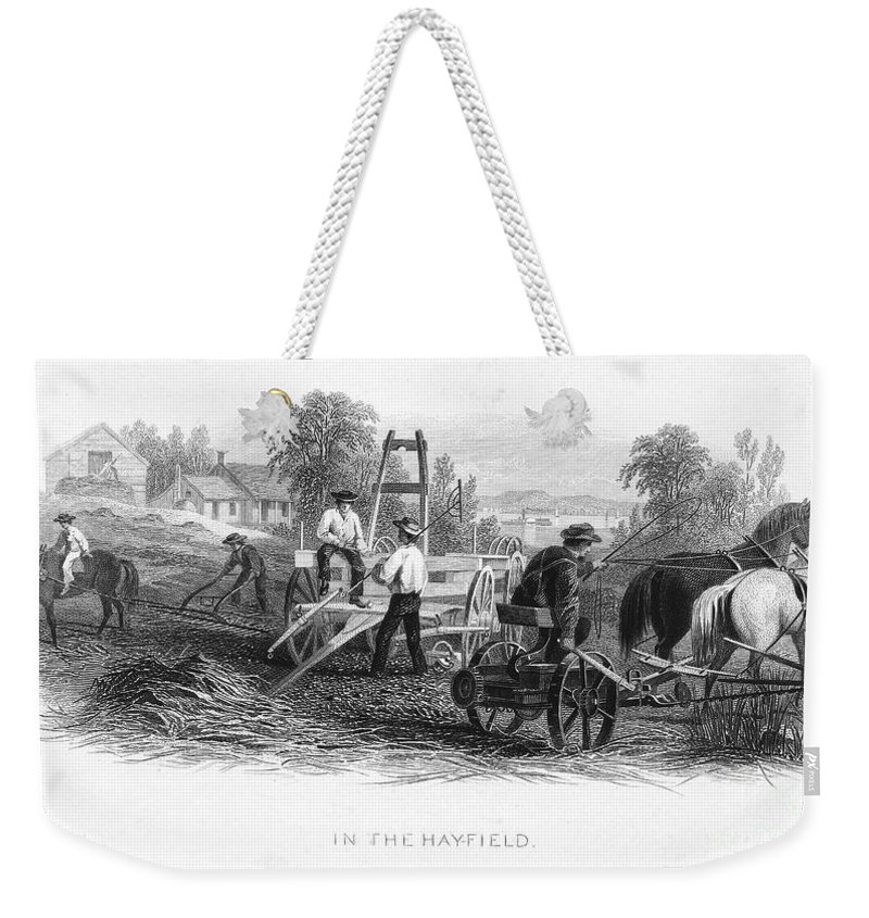 1870 Weekender Tote Bag featuring the photograph Farming, C1870 by Granger