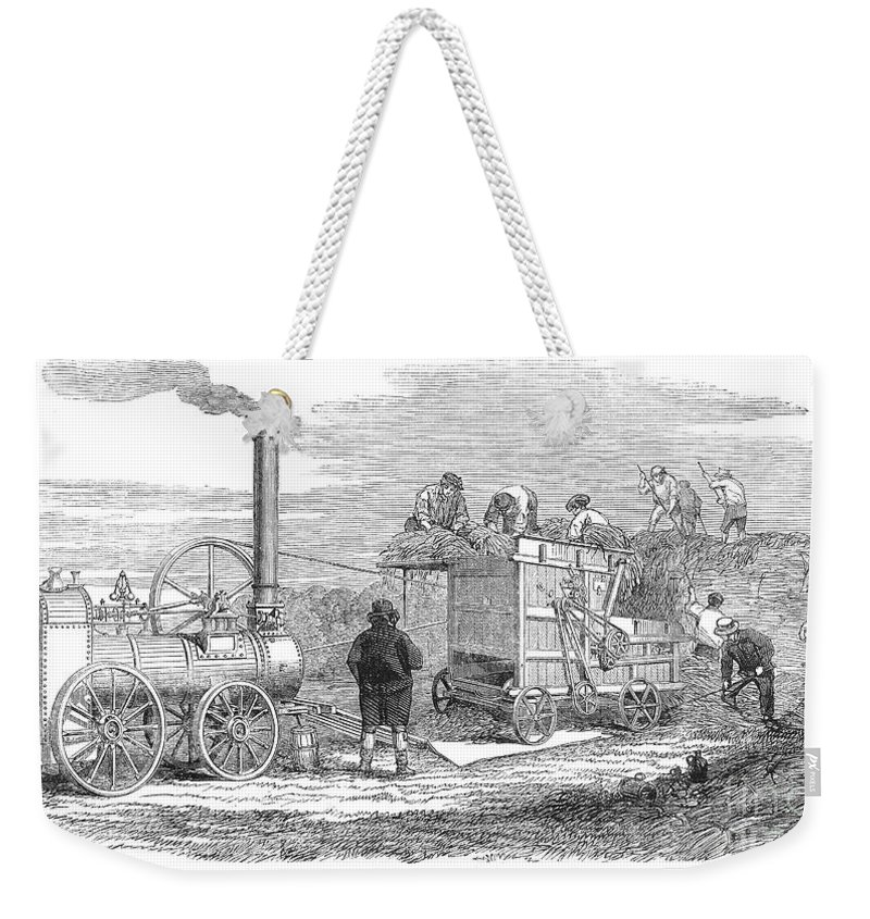 1851 Weekender Tote Bag featuring the photograph Farming: Threshing, 1851 by Granger