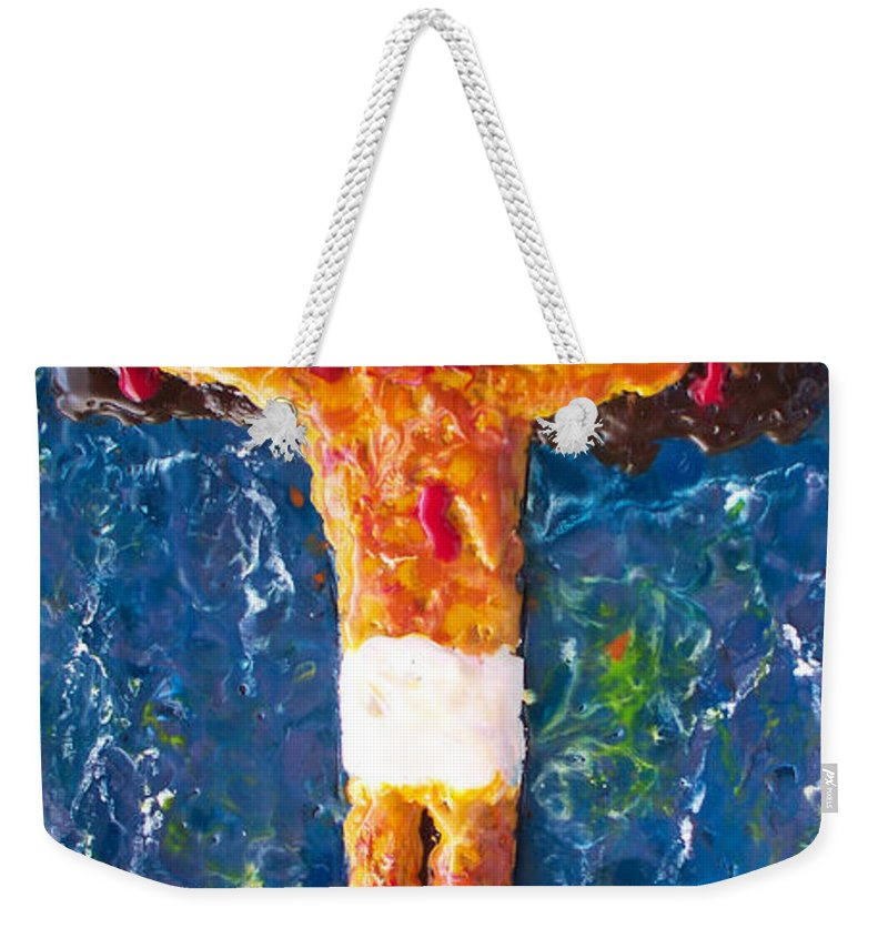 Religious Weekender Tote Bag featuring the painting Father Forgive Them by Carl Deaville