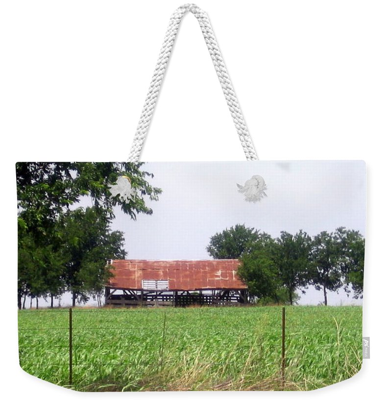 Country Weekender Tote Bag featuring the photograph Feeding Barn by Amy Hosp