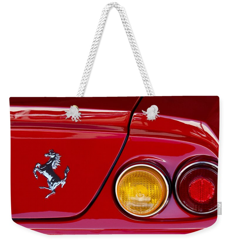 Ferrari Weekender Tote Bag featuring the photograph Ferrari Taillight Emblem 2 by Jill Reger