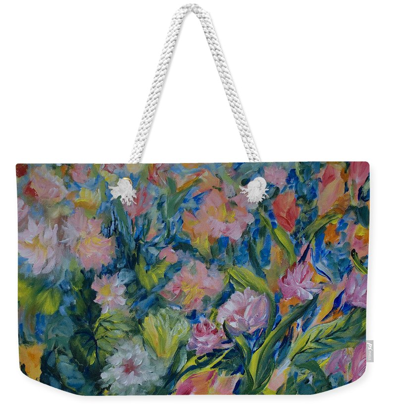 Flowers Weekender Tote Bag featuring the painting Field Of Flowers by Joanne Smoley